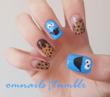 Epic Nail Art Cookie Monster Nailed It On The Tip Of Your