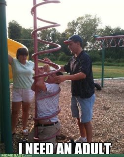 adult stuck in playground apparatus curly ladder