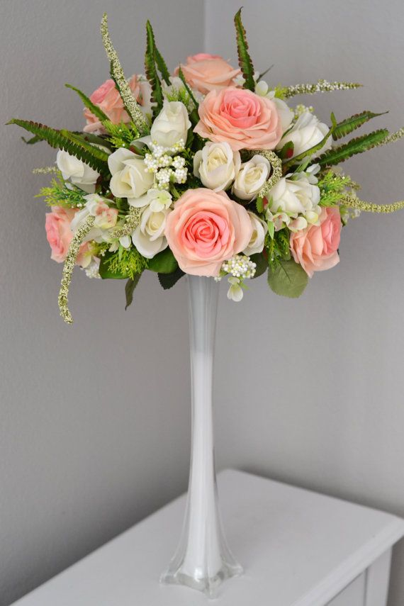 Wedding Centerpiece Set Eiffel Tower Vase With Pink Blush Ivory