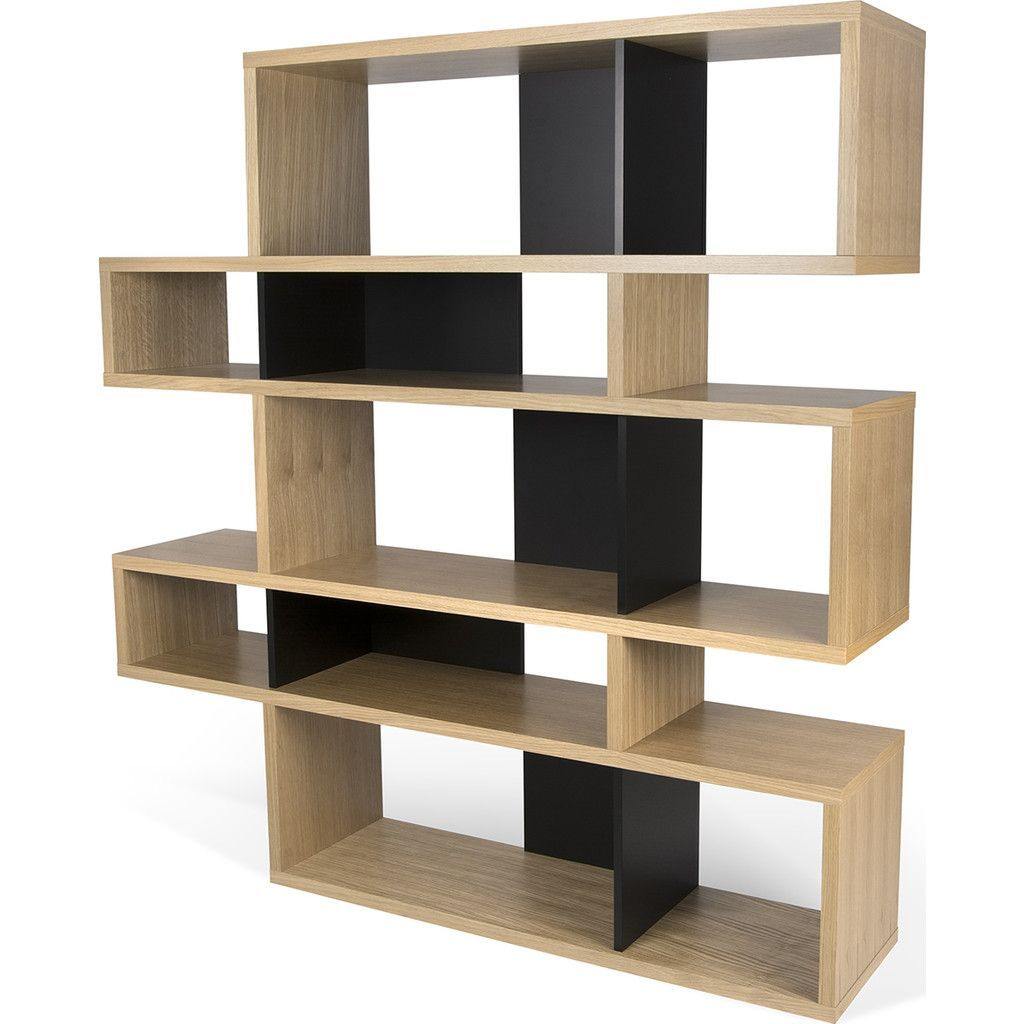 Temahome London 002 Composition Bookcase Oak Frame Pure Black