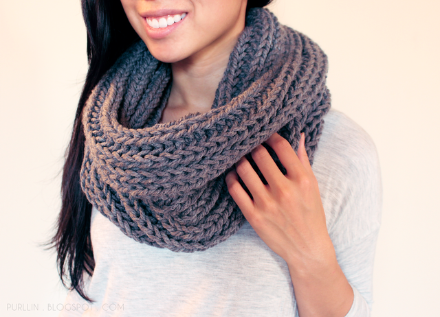 About the Textured November Infinity Scarf:  The 'Textured November Infinity Scarf' is a thick, textured cowl style circle scarf that will keep you warm from fall through winter. Simply drape it aroun