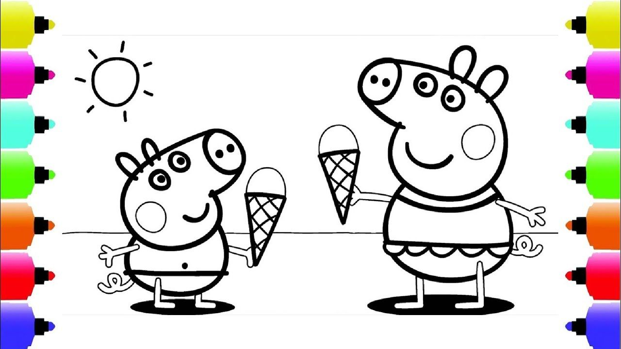 Peppa S Paintbox Peppa Pig Ice Cream Coloring Pages Cartoon