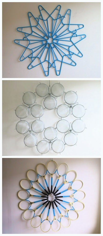 Upcycle: Sculpted hangers, strainers and rackets #hangersnowflake