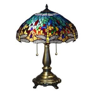 Serena D Italia Tiffany Blue Dragonfly 25 In Bronze Table Lamp T16275a At The Home Depot Mobile Tiffany Style Table Lamps Blue Table Lamp Stained Glass Lamp Shades