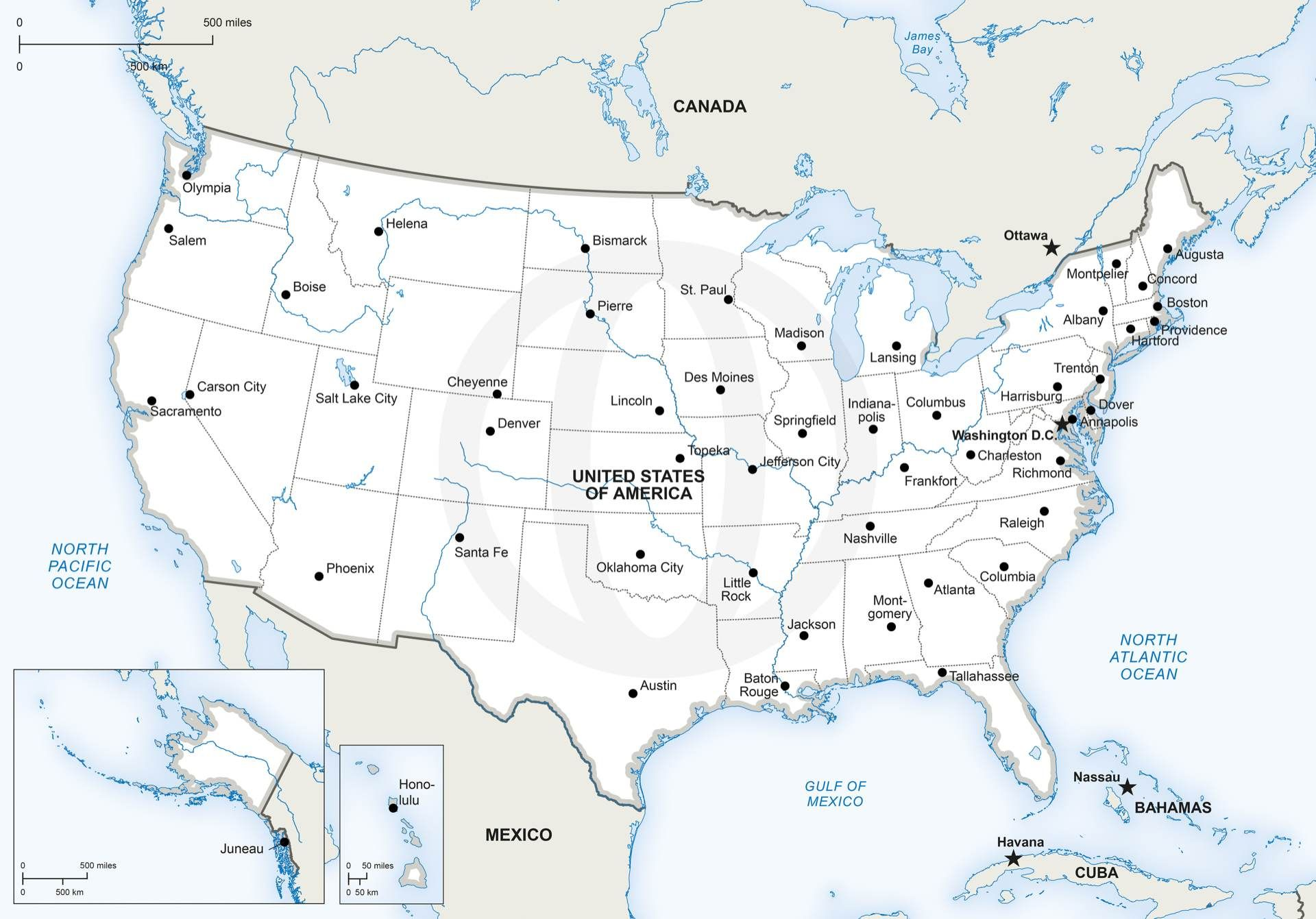 Vector Map Of United States Of America Maps Of North America