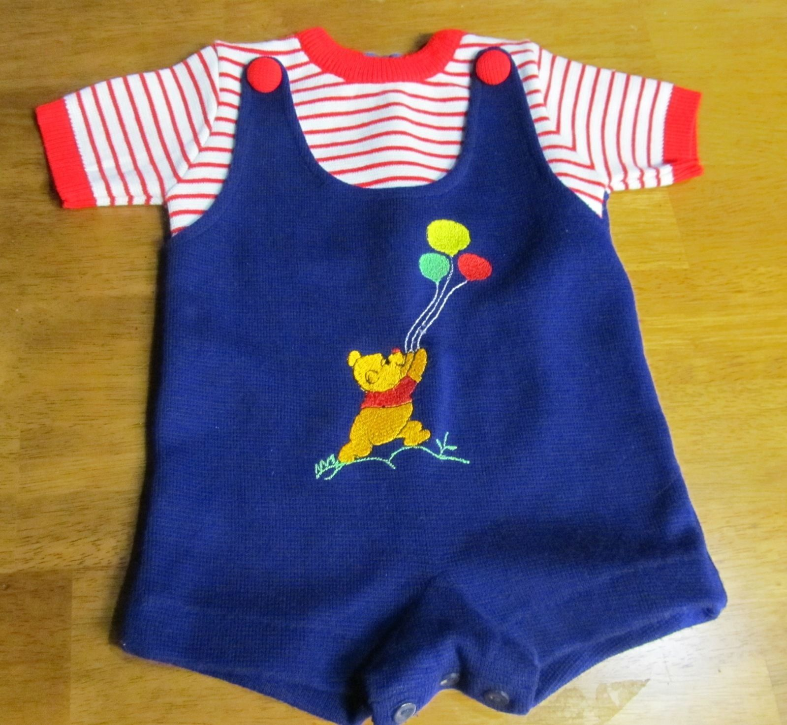 Sears Baby Clothes Vtg Baby Romper Winnie The Pooh Walt Disney Embroidery Infant Jumper