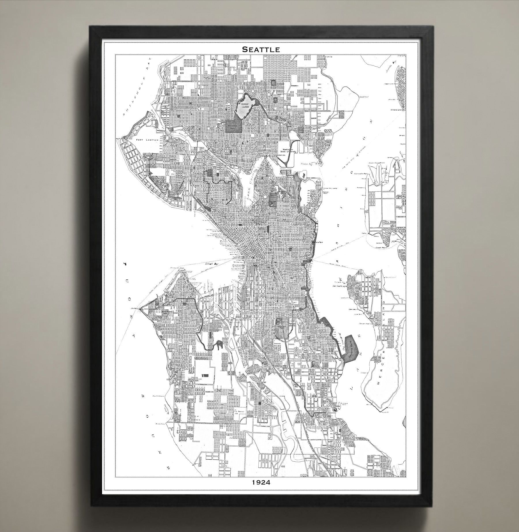 Map print seattle seattle seattle map and poster city city map poster prints from all over the world the largest collection online of map print posters gumiabroncs Image collections