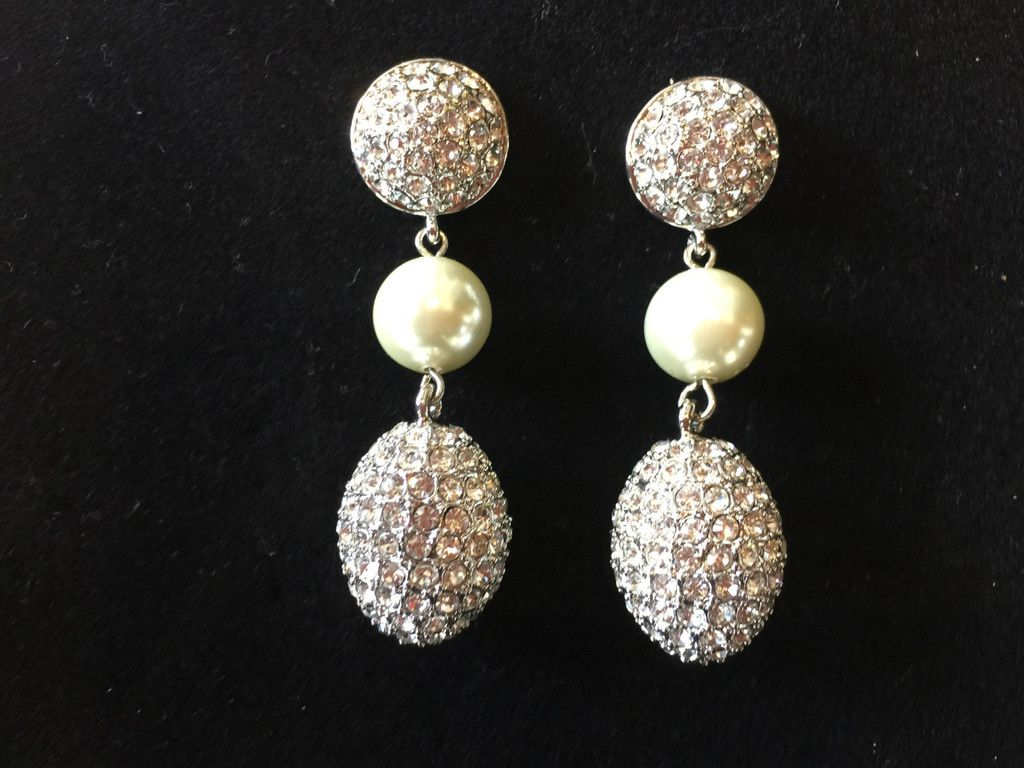 """Egg-Travagant"" Pave Earrings Black Diamond Crystals with Pearls"