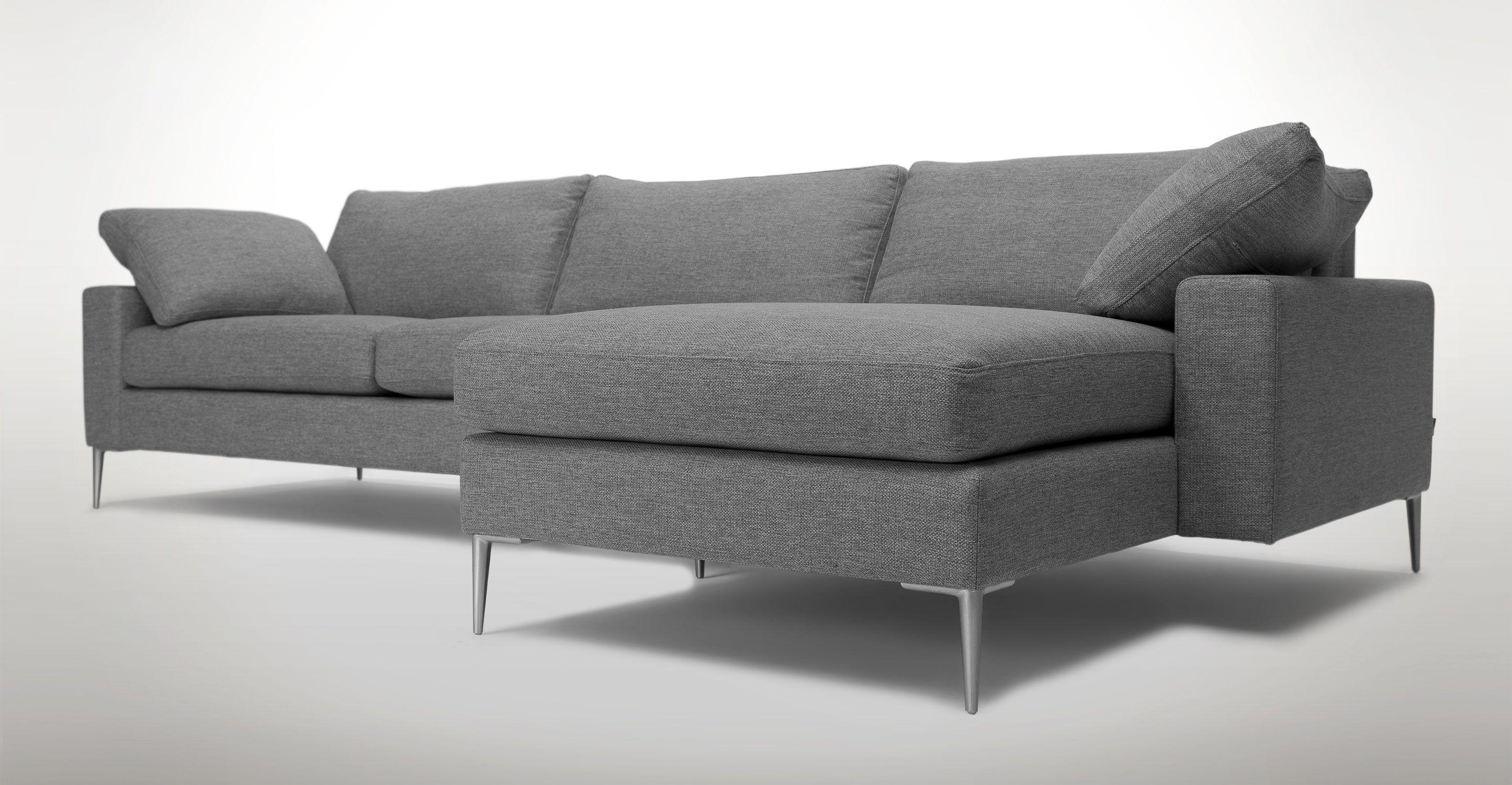 Gray Sectional Sofa With Metal Legs Article Nova Modern Bedroom