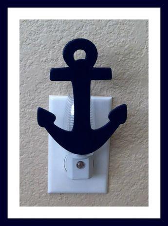 nautical themed night light navy blue nautical anchor night light kids room themed nursery beach decor on etsy 800