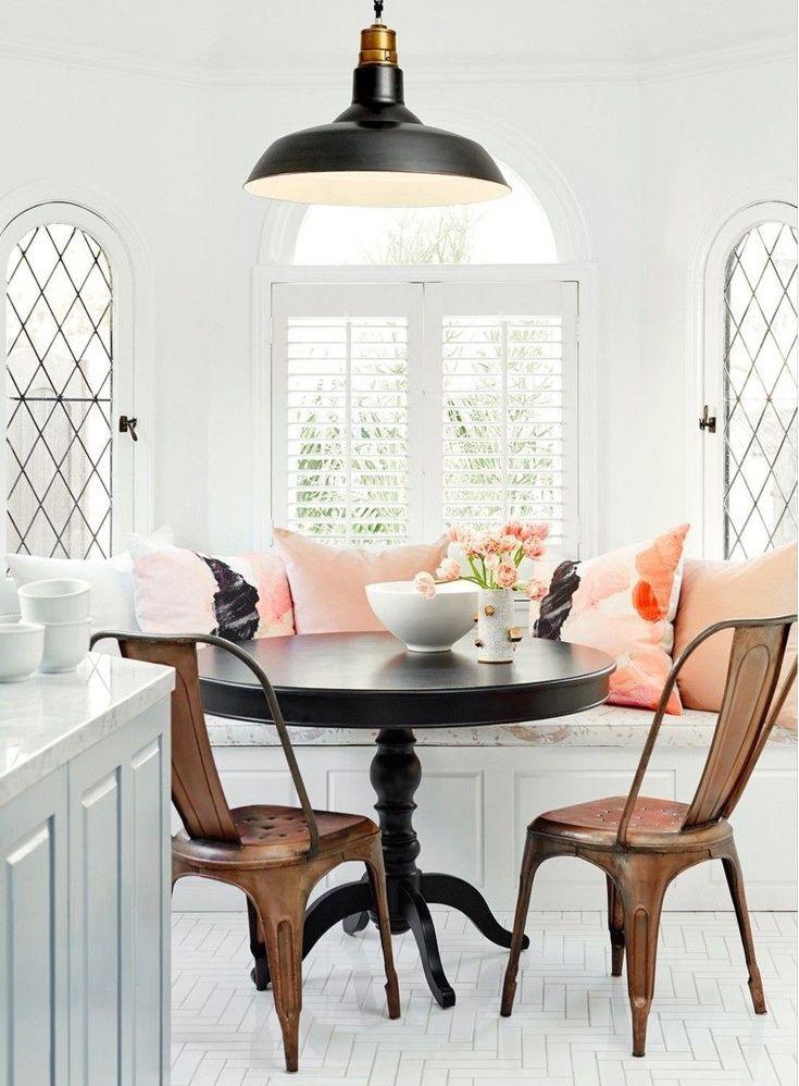 Breakfast Nook Pink Cushions Kitchen Ideas Dining Nook