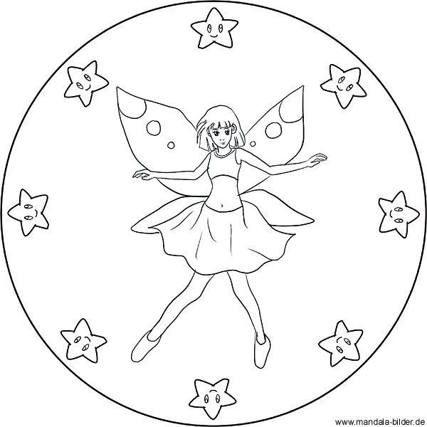 Mandala Fee Mit Sternen Ausmalbild Fur Kinder Ausmalbilder Ausmalen Ausmalbilder Mandala
