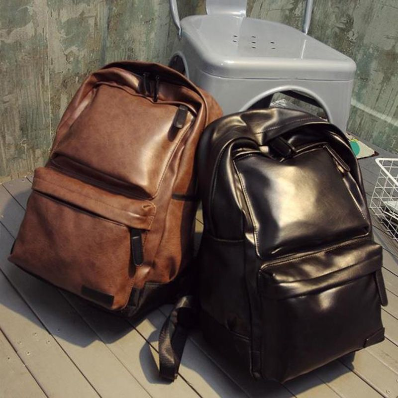 PU Leather Backpack Women Solid Printing Laptop Backpacks Men ...