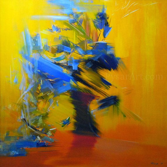 stretched blue yellow canvas art abstract flowers print by Pysar ...