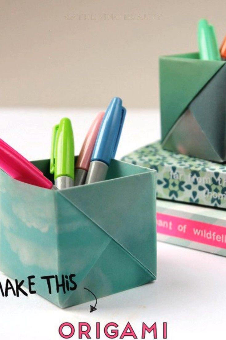 YOUR DESK IN STYLE WITH THESE ORIGAMI PEN HOLDERS DRESS YOUR DESK IN STYLE WITH THESE ORIGAMI PEN HOLDERS Emma  Origami DIYs and Paper Crafts emliston Origami Learn how t...