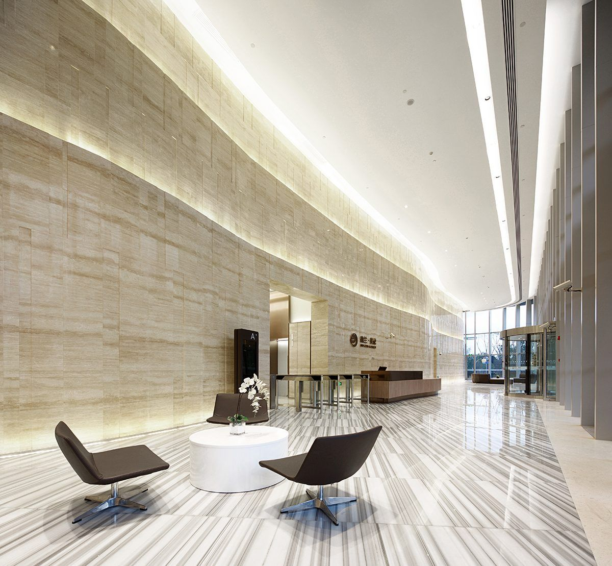 office lobby. Robarts Spaces | Waigaoqiao Sunland International D4-4 Office Lobby 1
