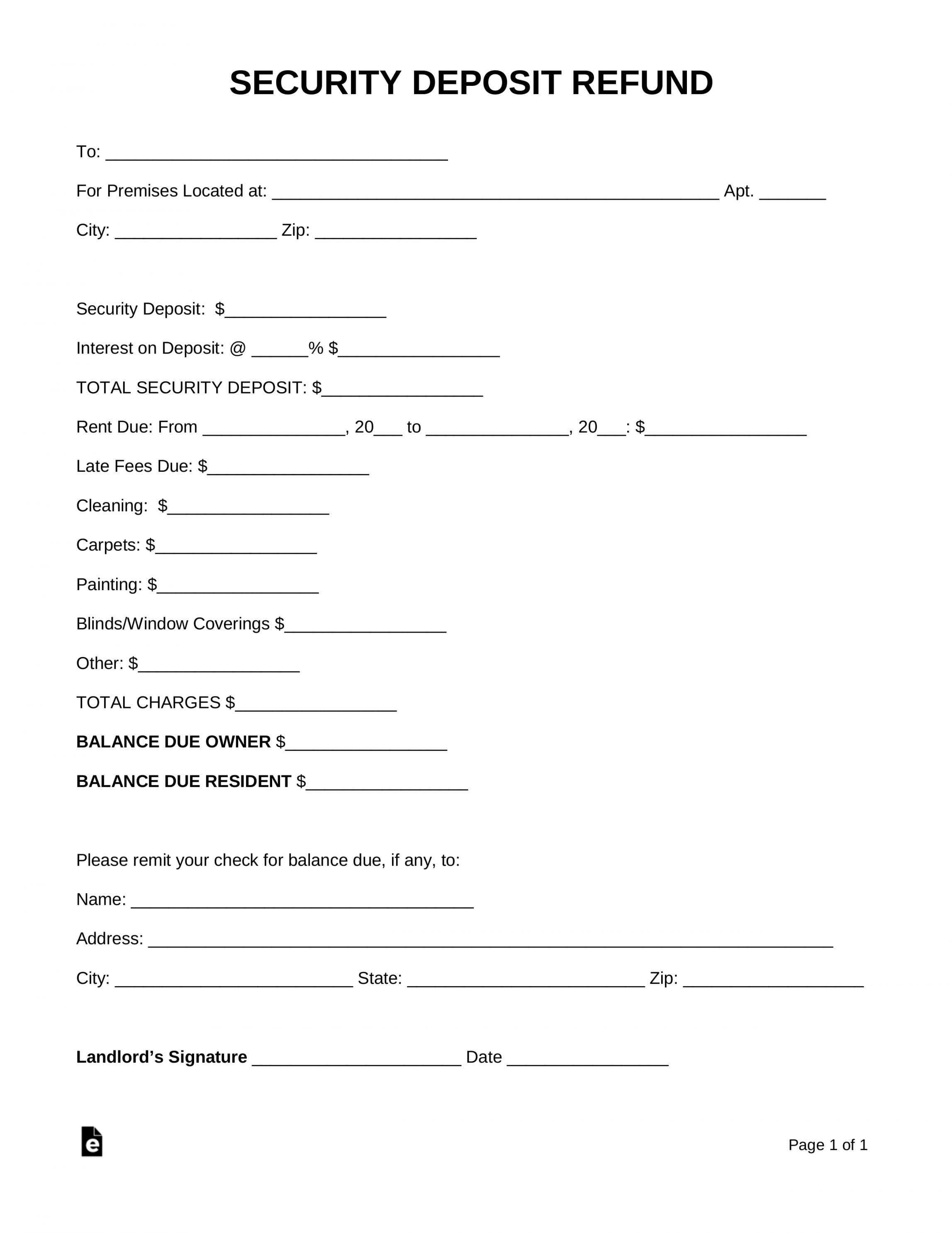 Get Our Sample Of Request For Return Of Security Deposit Form Receipt Template Being A Landlord Lettering