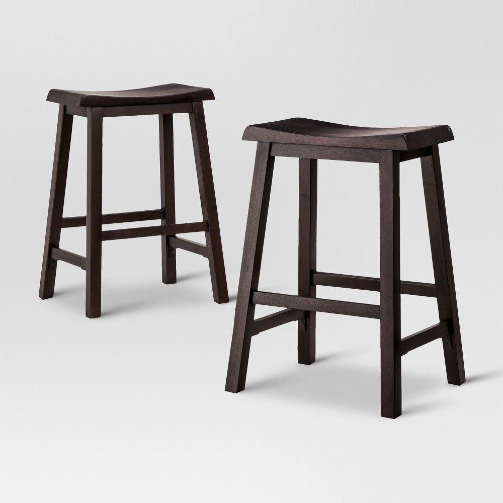 2pk Trenton Counter Stool Espresso Threshold Saddle Seat Bar