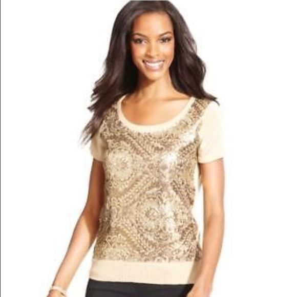 Beige Short Sleeve Sequin Sweater Beige Short Sleeve Sequin Sweater Jones New York Sweaters