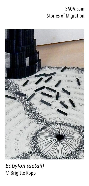 """""""Babylon"""" (detail) - art quilt by Brigitte Koop"""