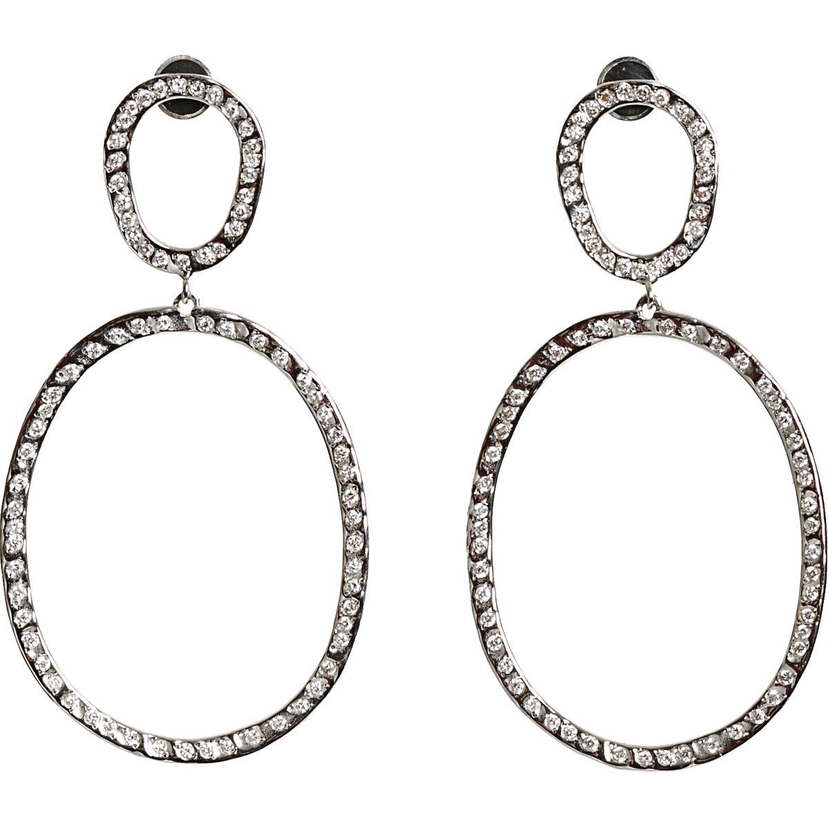 This is so meeee....Ileana Makri White Gold & Diamond Again Hoop Earrings at Barneys.com