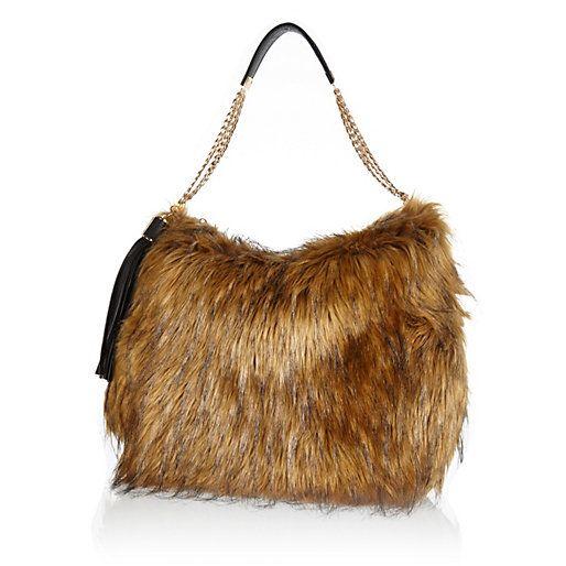 88c5f8de3e Brown faux fur slouch bag - shoulder bags - bags   purses - women ...