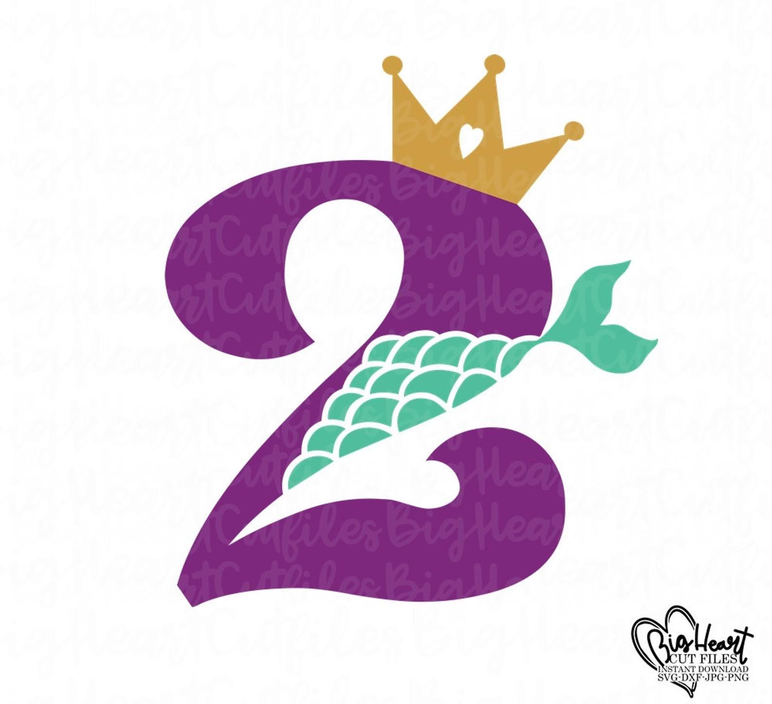 Mermaid 2nd Birthday Svgpngjpgdxfgirl Birthday Svgmermaid Etsy Mermaid Svg Girl 2nd Birthday 2nd Birthday
