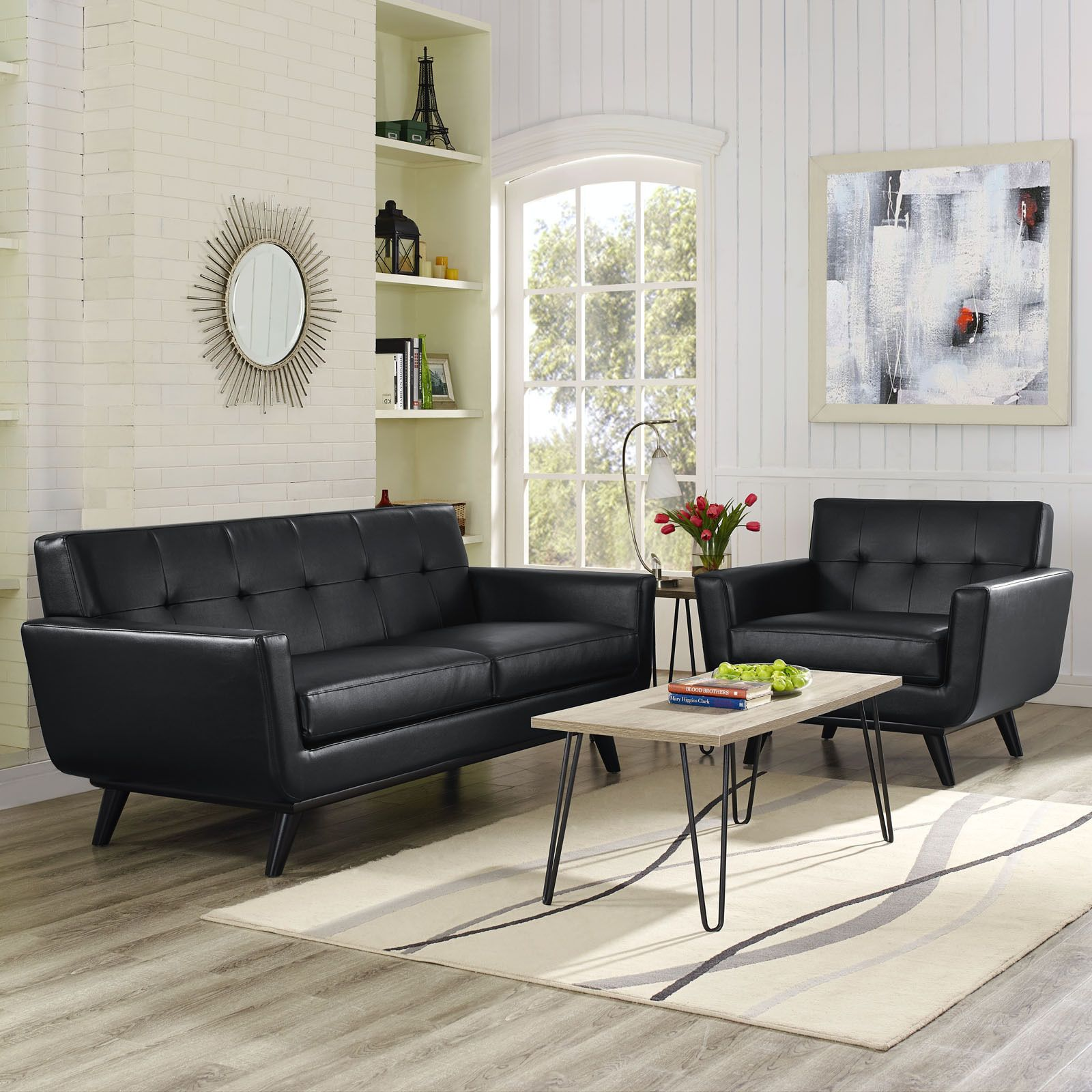 Modway Absorb 2-piece Leather Armchair/ Loveseat Living Room Set (