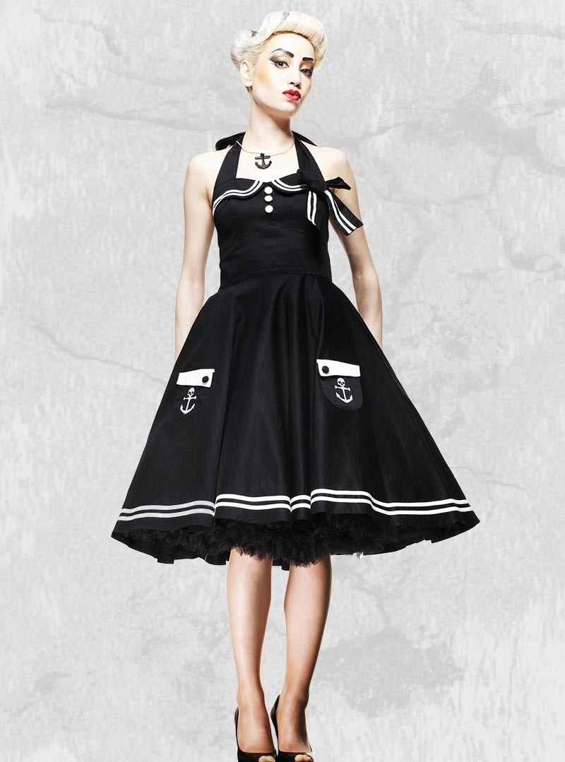 "Vintage Année 50 dedans robe sailor rockabilly vintage années 50' hell bunny ""black motley"