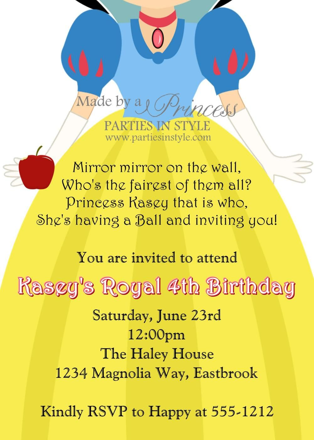 Birthday Invitation Princess Series Snow White Snow white