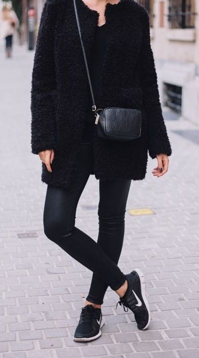 All black with a final touch of nike rouche - casual chic ...
