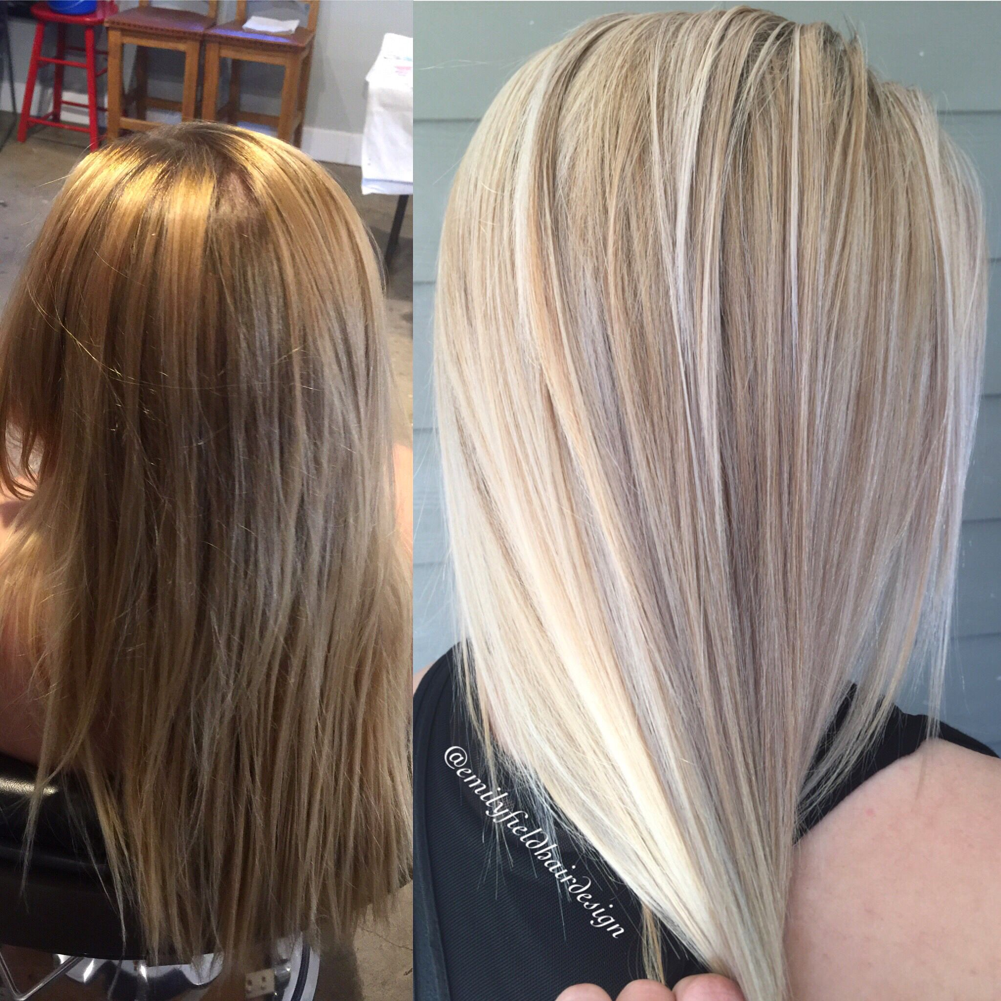 Before and after warm blonde to cool icy platinum blonde hair with