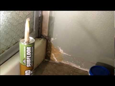 Diy Repairing Shower Leak Damage To Dry Wall With Liquid Nails Subfloor Adhesive Youtube Fixing Drywall Bathroom Repair Tub Surround