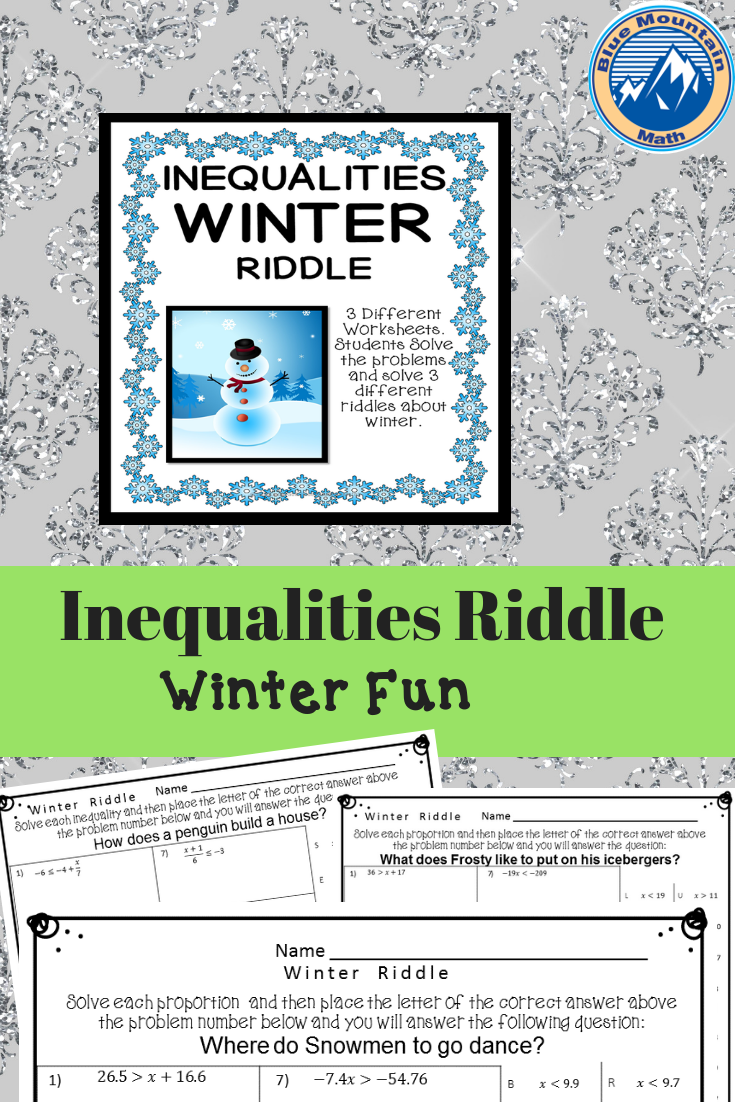One Step And Two Step Inequalities Winter Riddle Algebra Fun Writing Equations Fun Math [ 1102 x 735 Pixel ]