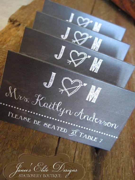 rustic chalkboard wedding place cards by janeeselitedesigns