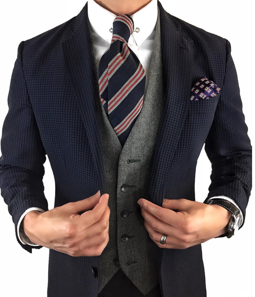 Striped Tie In Reds Blues And Grays Classic Mens Style In 2019