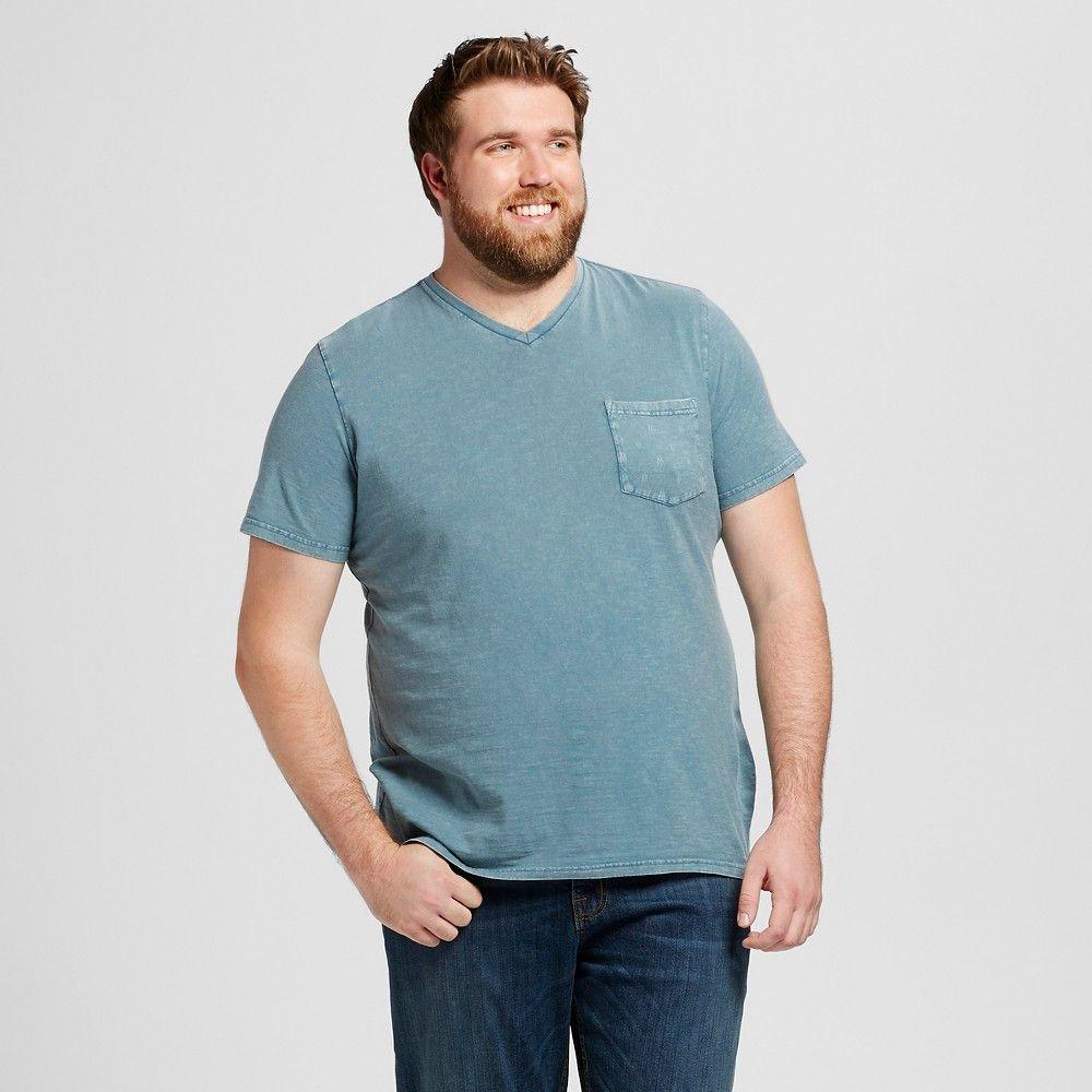 Men 39 s big tall v neck t shirt blue xxlt mossimo supply for Mens xxl tall dress shirts