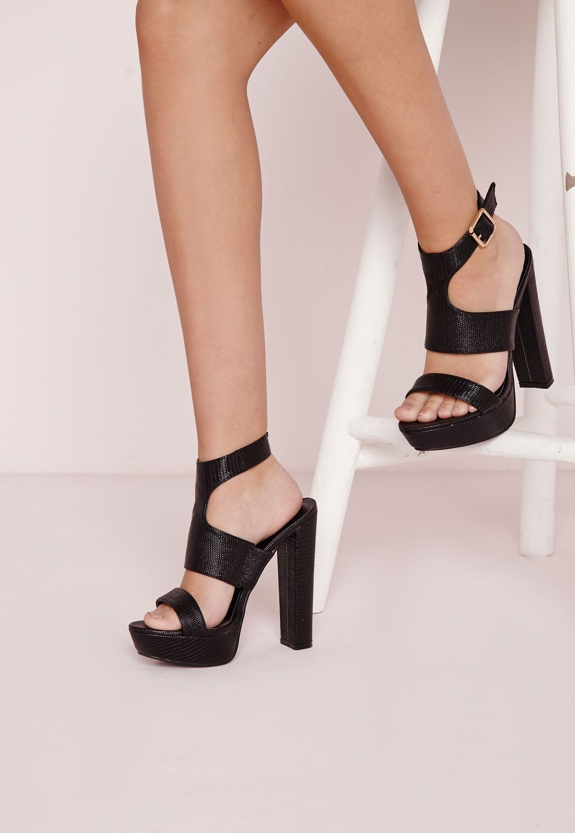 27883c4ace7 Missguided - Platform Ankle Strap Heeled Sandals Black