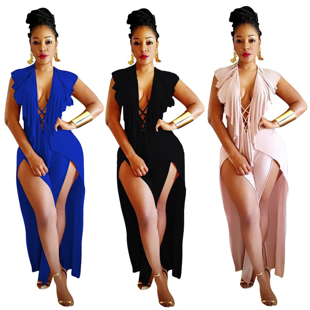 d62e824e5c3 Backless Sexy High Slit Women Club Jumpsuits with Ruffles Overlay SY816