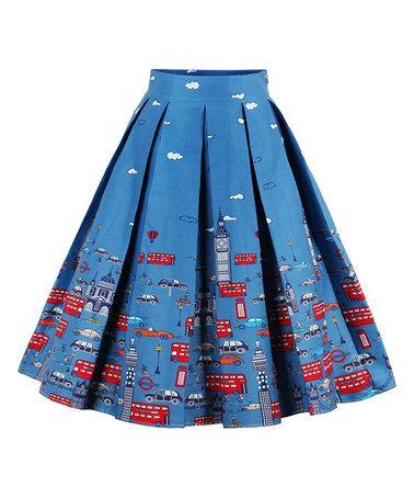 Blue Transportation Soft-Pleat Skirt #zulily #zulilyfinds