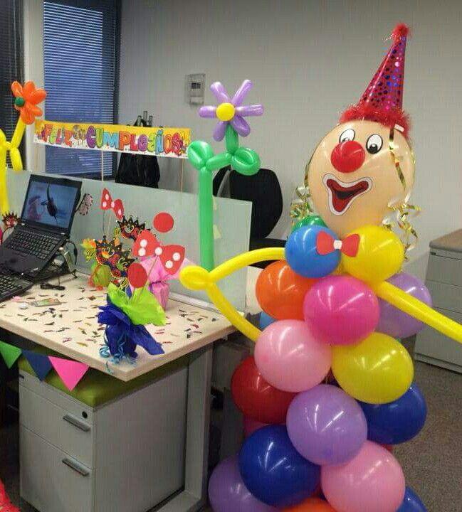 Payaso decoraci n de cumplea os en oficina pinterest for Como decorar mi puesto de trabajo