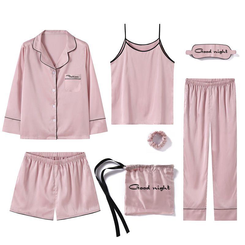 5a5d519b78 Cheap Jrmissli nuevo estilo de seda mujeres pijama Rosa 7 unidades camiseta  con pantalones de longitud