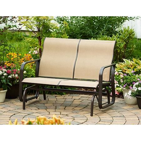Marvelous Mainstays Square Tile Sling Glider Bench Seats 2 Cheap And Andrewgaddart Wooden Chair Designs For Living Room Andrewgaddartcom