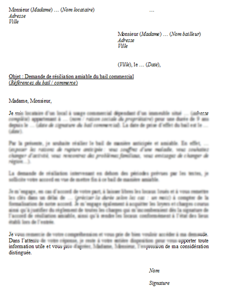 Modele Resiliation Anticipee Bail Commercial A L Amiable Lettre A Modeles De Lettres Bail Commercial