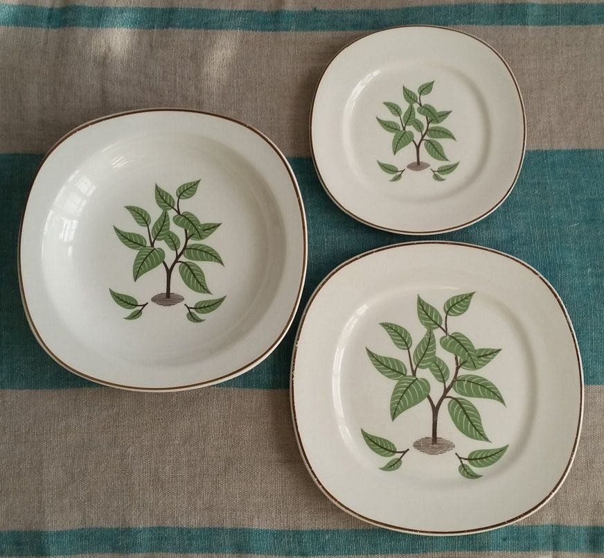 MCM Taylor Smith Taylor Coffee Tree Lunch Set Salad Plate Bread Plate Soup Bowl Vintage Dinnerware & MCM Taylor Smith Taylor Coffee Tree Lunch Set Salad Plate Bread ...
