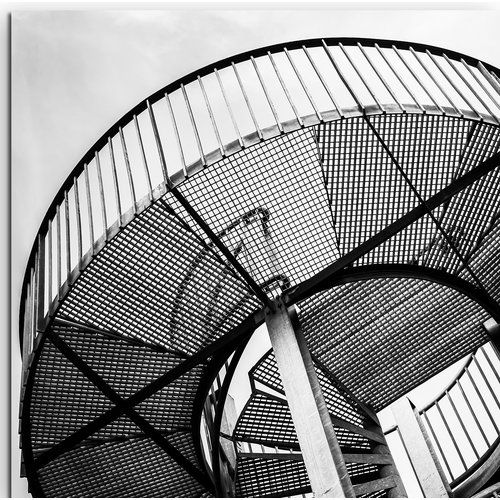 Best East Urban Home Metal Spiral Staircase Framed Photographic 400 x 300