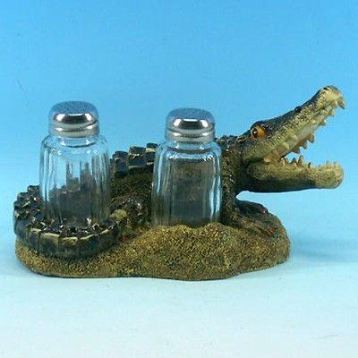 #Louisiana #alligator #saltandpepper #saltandpeppershaker #décor #kitchendecor  Alligator Salt and Pepper Shaker Holder Set - Only $17.99