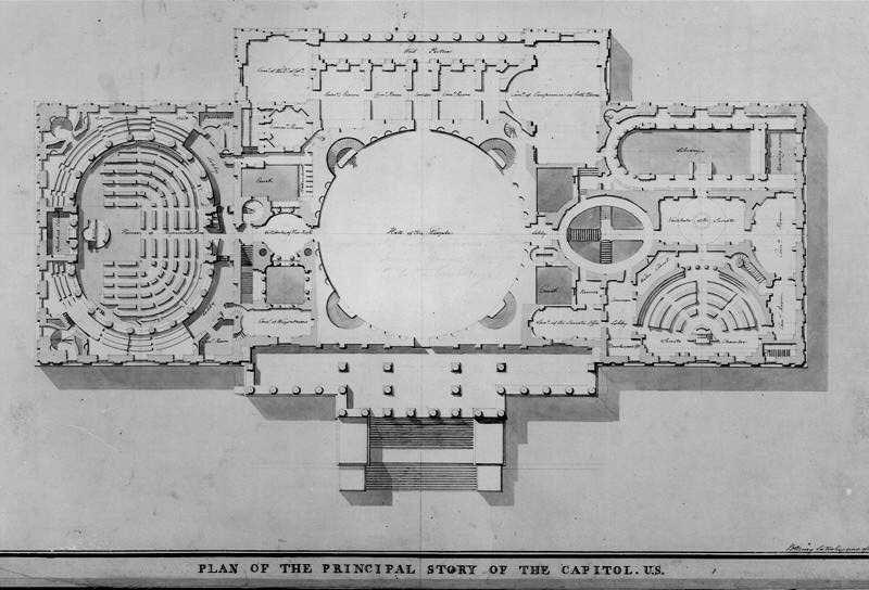 Latrobes Capitol Design 1806 Architecture Architectural Floor - Us-capitol-floor-map