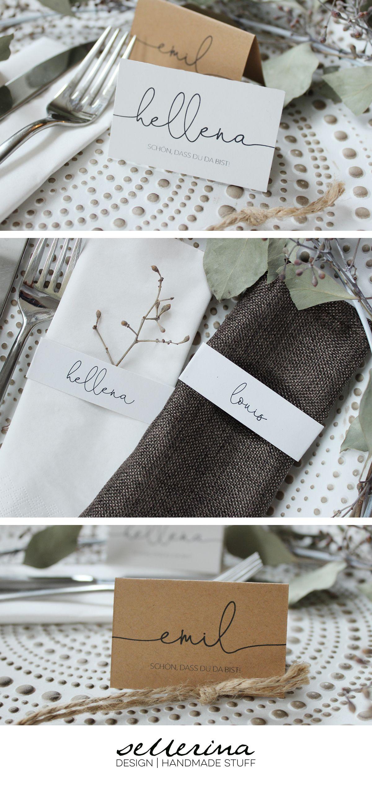 Tischkarten | Namensschilder mit individuellen Namen und Schriftzug stehendes Naturpapier, Vintage, Weiß, Hochzeit (meine Liebe)