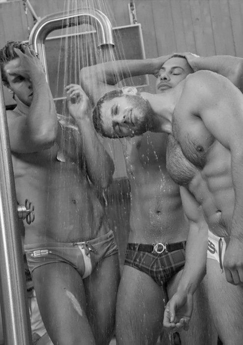 Gay shower men together